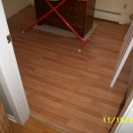 Laminate floor installation.