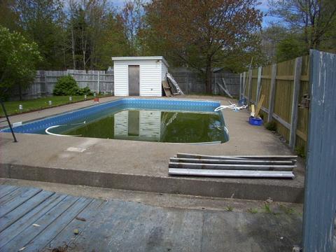 Enclosed pool area.