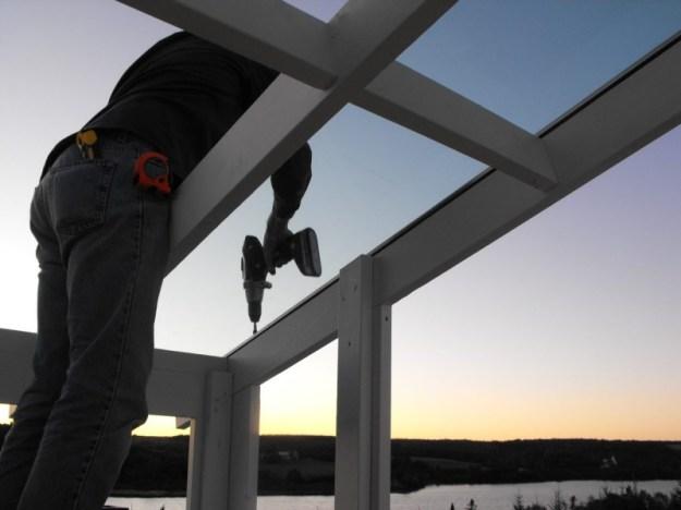 Sunroom glass install 5