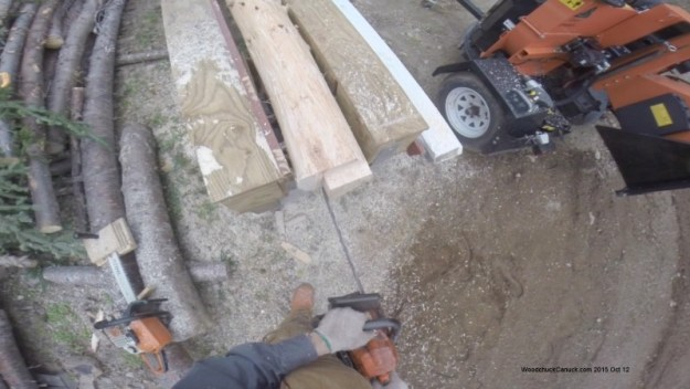 chainsawing,logs,square pegs