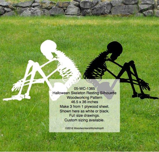 Skeleton Resting Silhouette Halloween Yard Art Woodworking Pattern Woodchuckcanuck Com