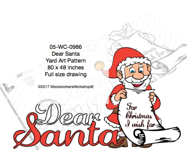 woodworking plans,full size drawings,Dear Santa Large Yard Art Woodworking Pattern