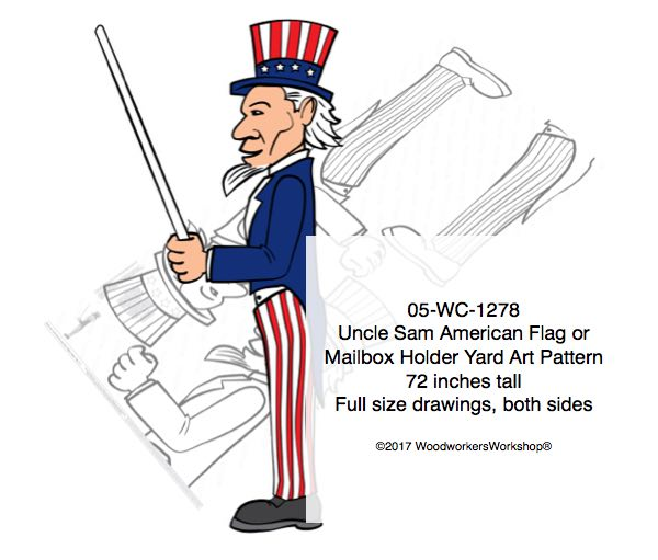 Uncle Sam Flag holder or Mailbox Holder Yard Art Woodworking Pattern,plywood projects