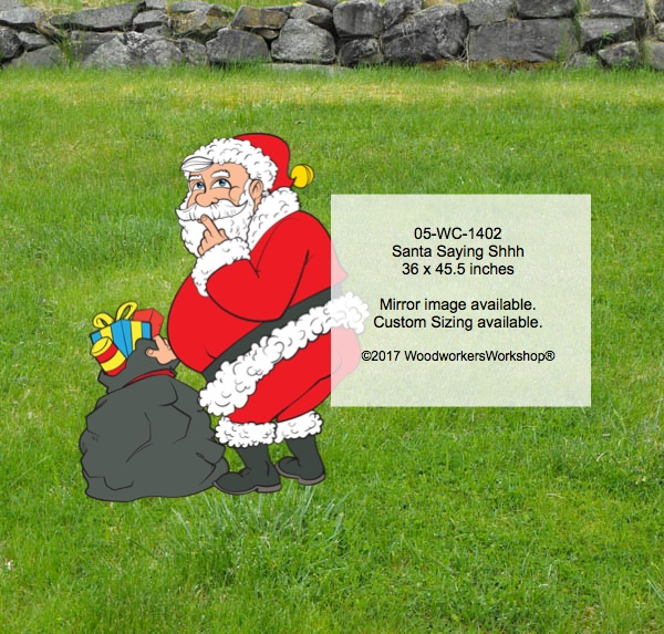 Santa Claus,looking over his shoulder,shhhh,woodworking plans,patterns,full size drawings