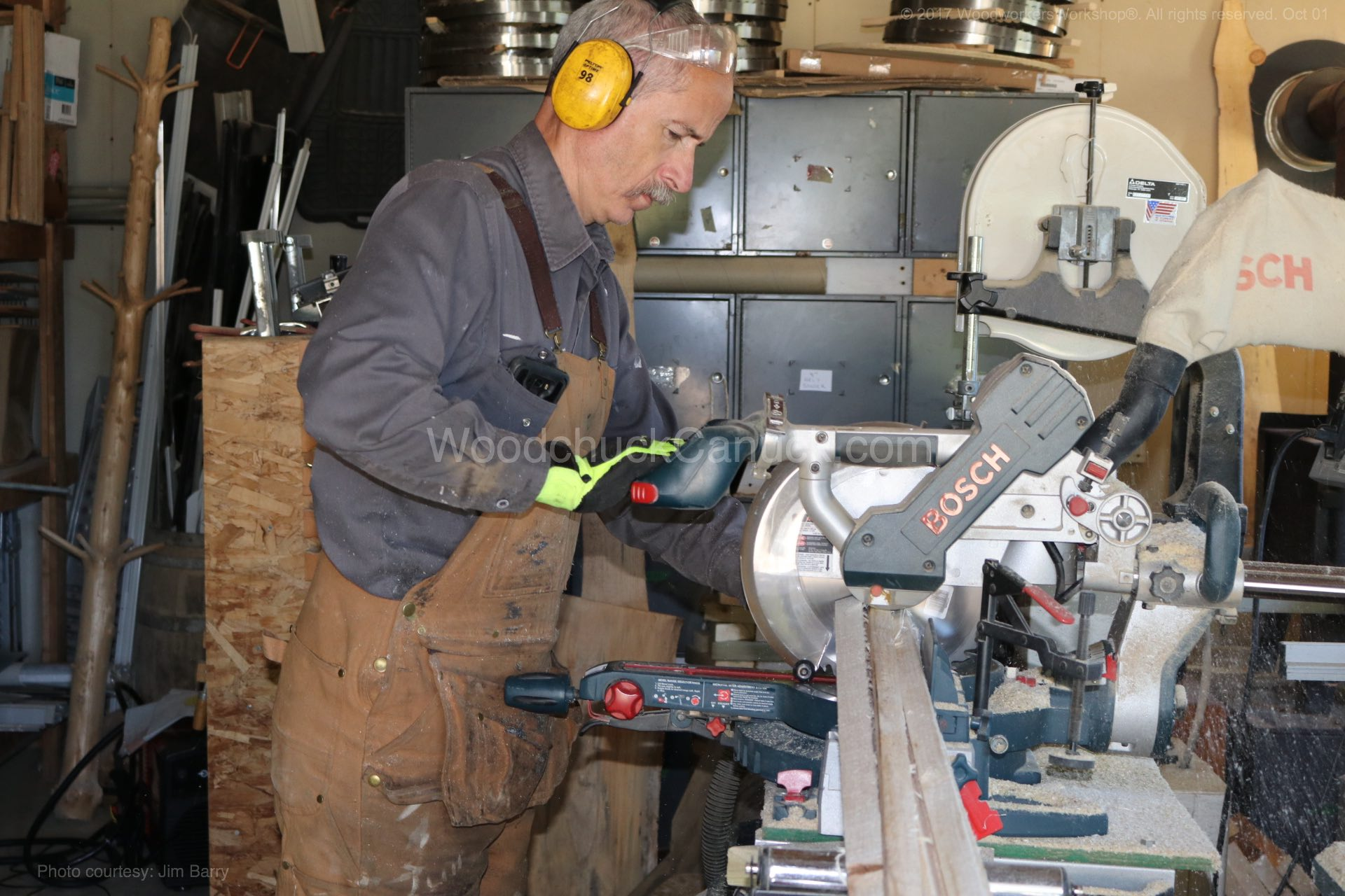 Jim on the miter saw.