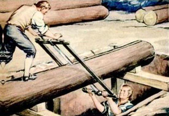 pit saw,sawyers,history of saw milling