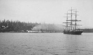 logging,sailing ships,vintage photos,British Columbia