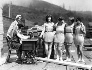 vintage logging photos, olf forestry photographs, women, wooden bathing suits, swim wear, swim suits, marketing