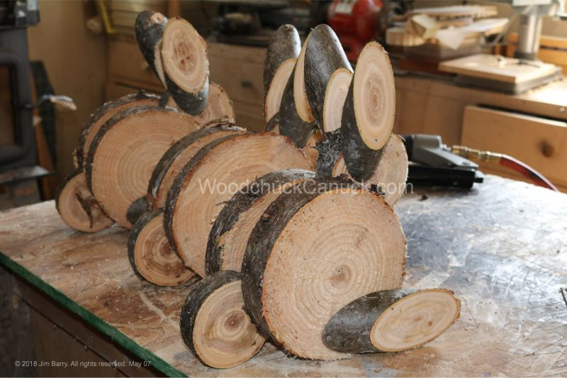 wooden rabbits, made in Nova Scotia, Antigonish County, Guysborough County, wood crafts