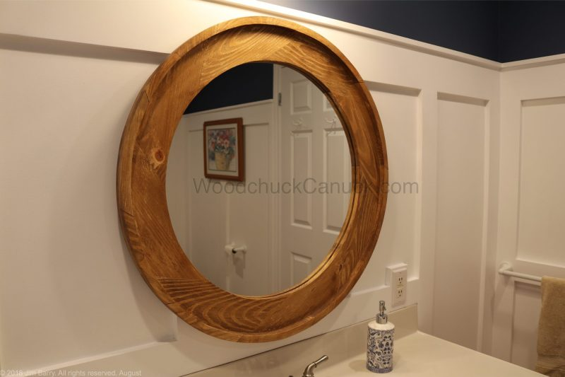 DIY round wooden mirror frame,woodworking,bathroom
