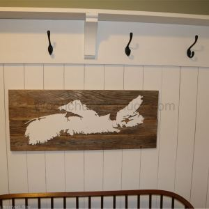 Hand made wood map of Nova Scotia 32x15 inches