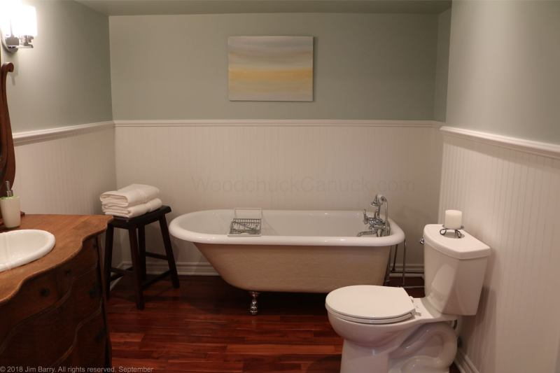 Clawfoot tub in basement bathroom