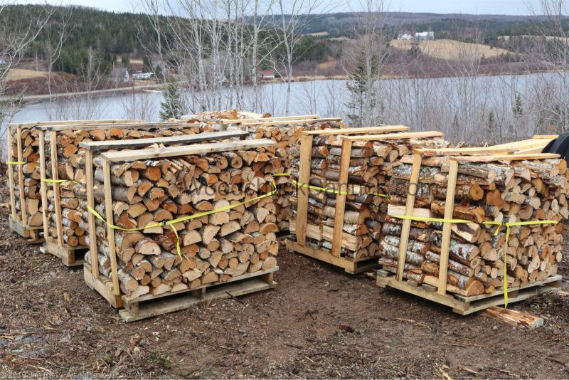 Palletized firewood for sale.