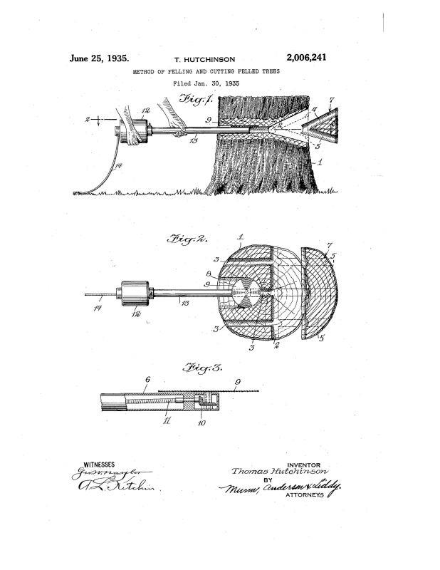 01-30-1935 patent 2006241 patented 1935-06-25 Thomas Hutchinson A method of felling large trees Pg 1 of 3