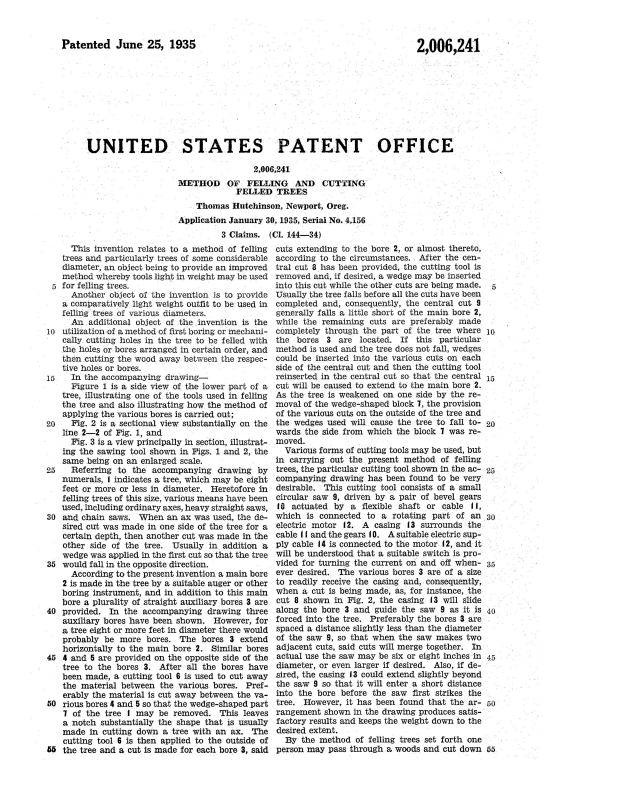 01-30-1935 patent 2006241 patented 1935-06-25 Thomas Hutchinson A method of felling large trees Pg 2 of 3