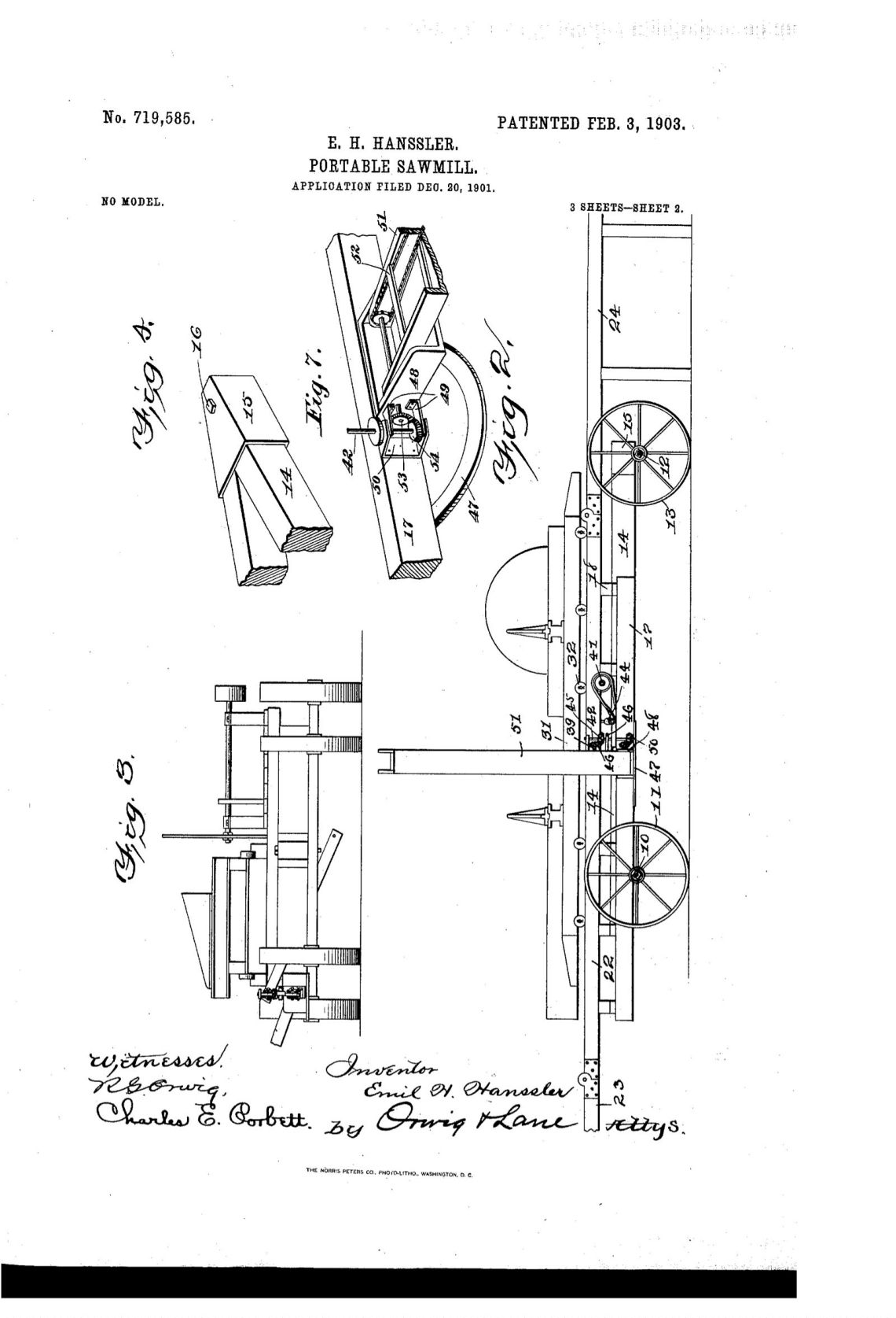 02-03-1903 patent 719585 EH Hanssler portable saw mill pg 1 of 6