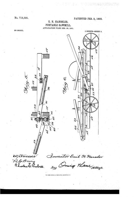 02-03-1903 patent 719585 EH Hanssler portable saw mill pg 3 of 6