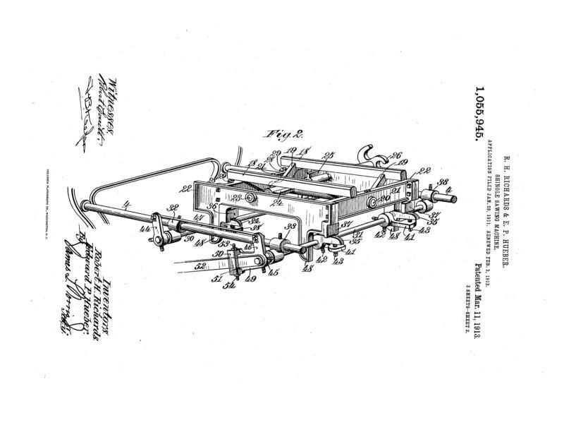 02-03-1913 patent 1055945 1913-02-03 AMERICAN SAW MILL MACHINERY COMPANY ROBERT H Richard, EDWARD P Hueber, Shingle Sawing Machine pg 2 of 7