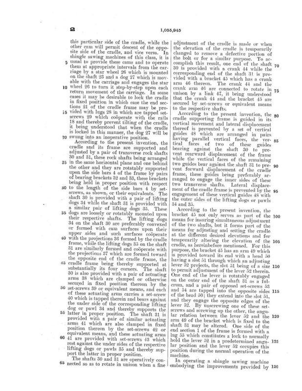 02-03-1913 patent 1055945 1913-02-03 AMERICAN SAW MILL MACHINERY COMPANY ROBERT H Richard, EDWARD P Hueber, Shingle Sawing Machine pg 5 of 7