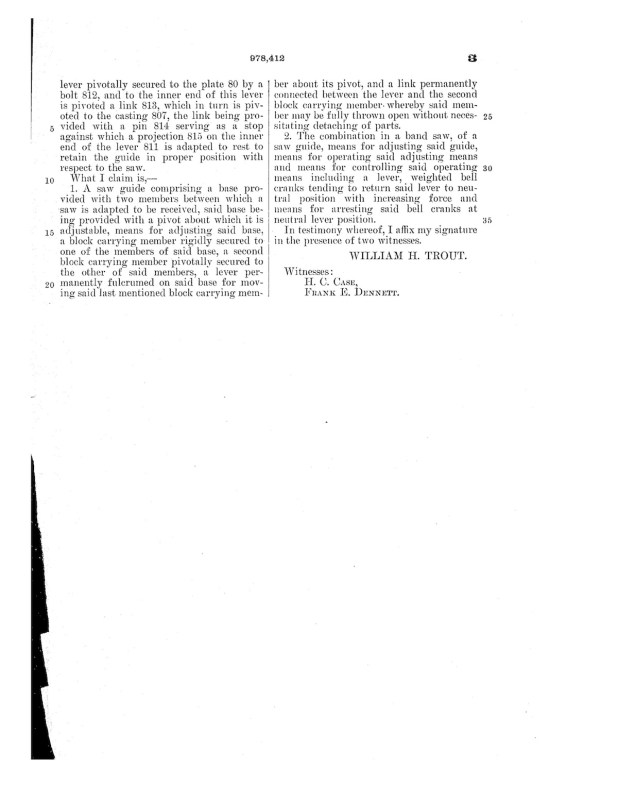 02-08-1907 patent 0978412 1907-02-08 ALLIS-CHALMERS COMPANY, William H Trout improvements to band saw mills construction and arrangement pg 8 of 8
