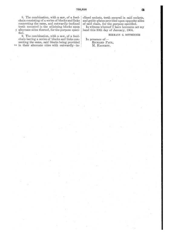 02-12-1904 patent 0799836 1904-02-12 DIAMOND IRON WORKS Hermann G Dittbenner improvement in twin circular saw mills Pg 8 of 8