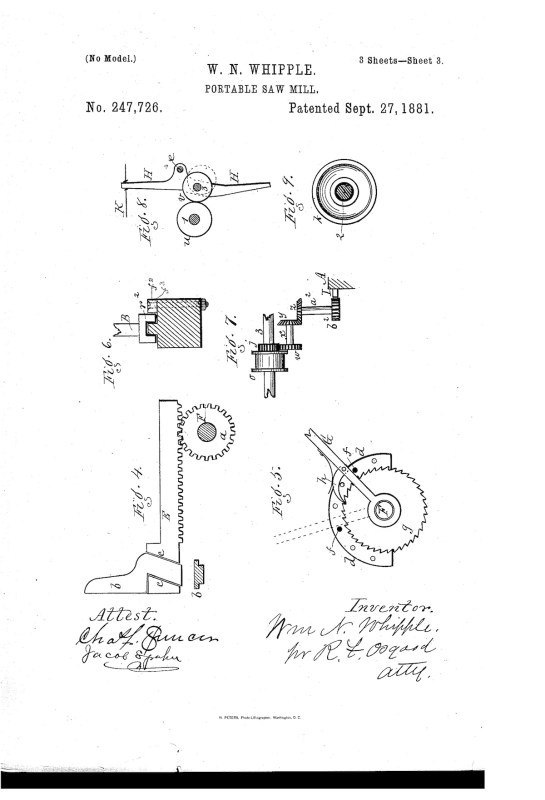 02-15-1881 patent US247726 portable saw mill Pg 3 of 5