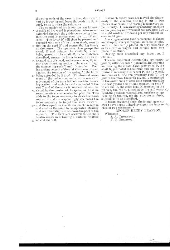 03-05-1888 patent US385997A Firewood drag saw pg 4 of 4
