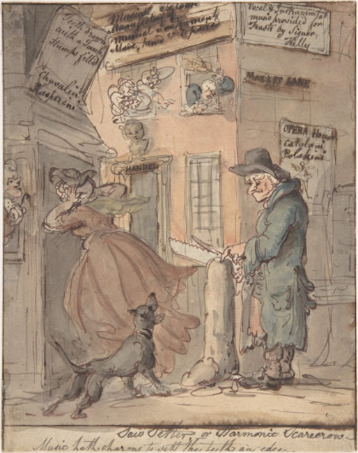 1809 Illustration of a street vendor filing saws.