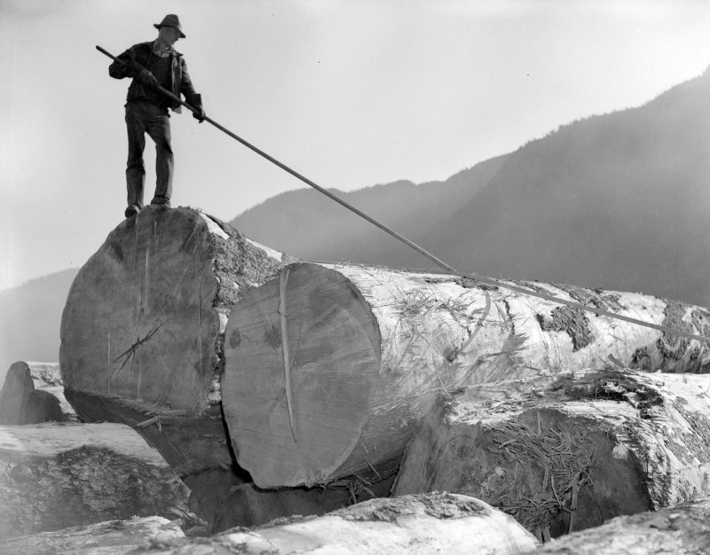 1945 Building a raft for Pacific Mills