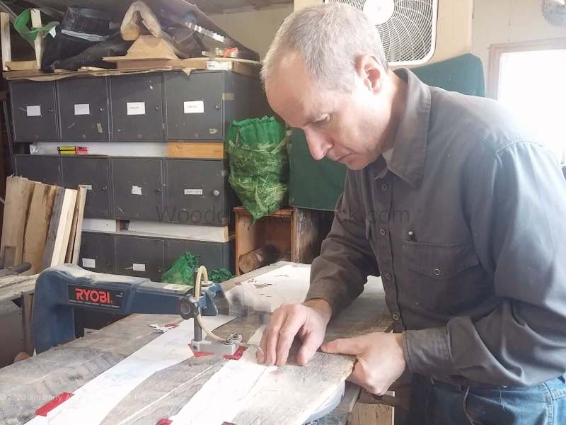 Scrollsawing a custom Wood map of Long Island, New York with Jim Barry.