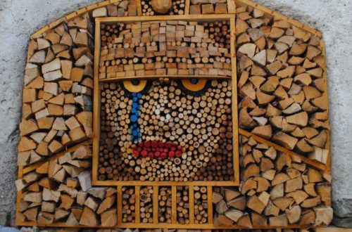 Artistic display in firewood piles.