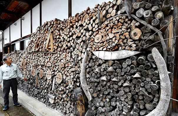 Firewood art piles around the world.