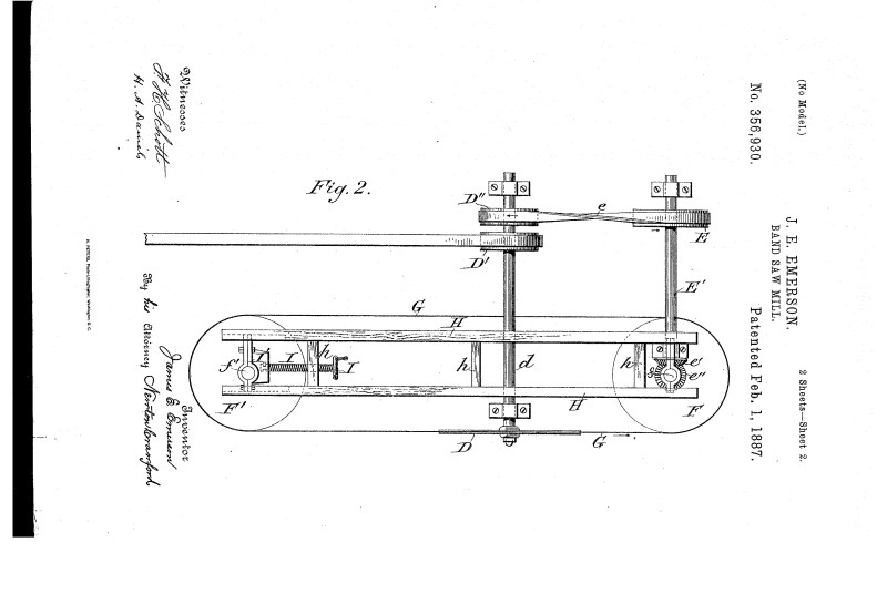 03-09-1886 patent US356930 Patented 02-01-1887 Band Saw Mill pg 2 of 4