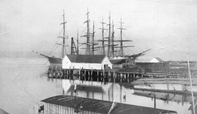 1887 Hastings Sawmill wharf.