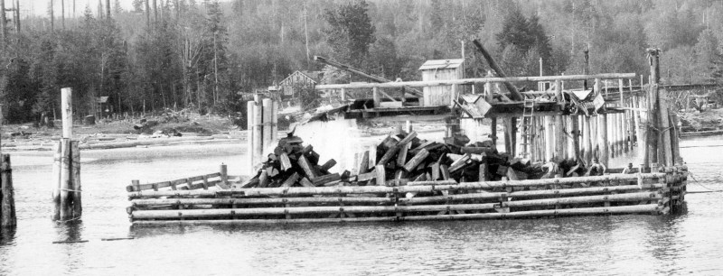1920s Loading shingle bolts at Roberts Creek, BC.