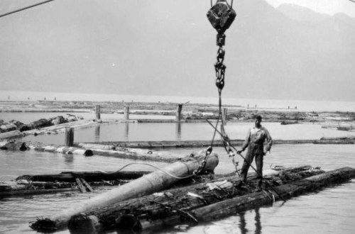 1928 B And K Co., booming ground on Pitt Lake.