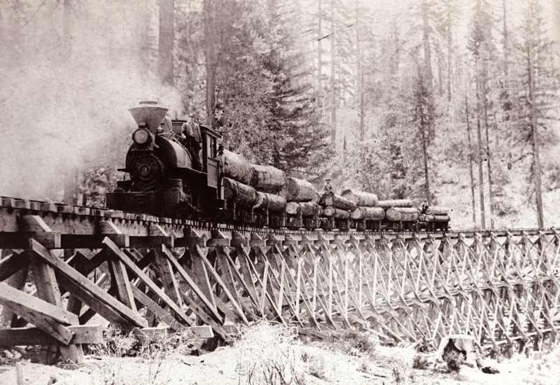 1900 Logging Train on Double Trestle