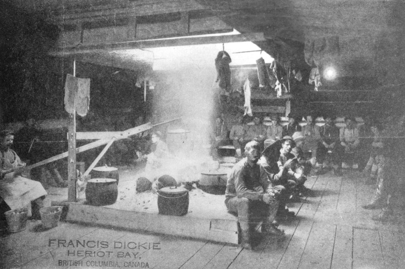 1885 Interior of bunk and cookhouse at a logging camp.