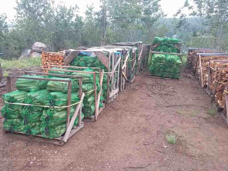 Bagged firewood kindling.