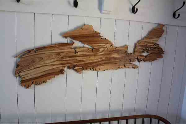 Wood map of Nova Scotia 44 inches long, spalted birch.
