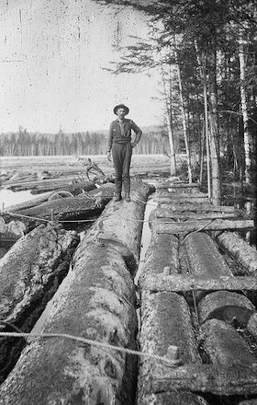 Log driver working for the Brown Company in New Hampshire.