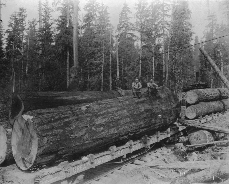 1900 Four woodsmen posing with logs on Great Northern Railway car.
