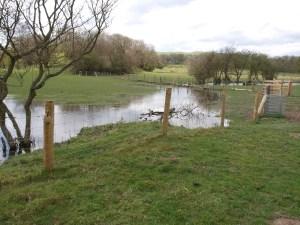 Flooded fields as we approach Llandegla