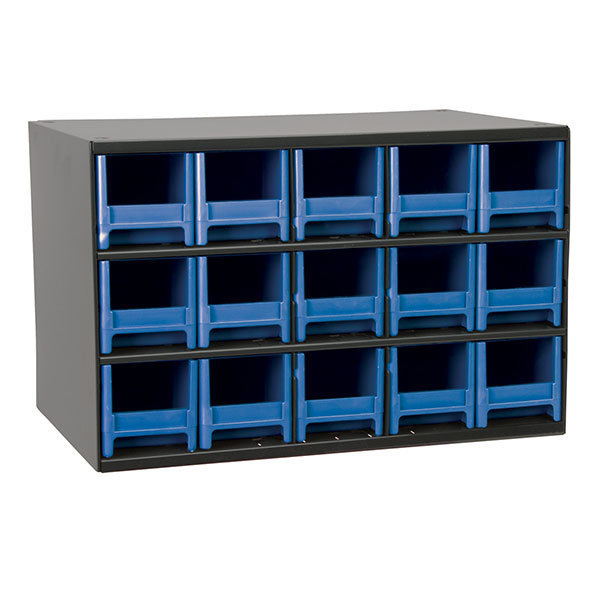 AkroMils 15 Drawer Steel Storage Cabinet with Blue Drawers