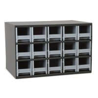 Akro-Mils 15 Drawer Steel Storage Cabinet with Gray Drawers