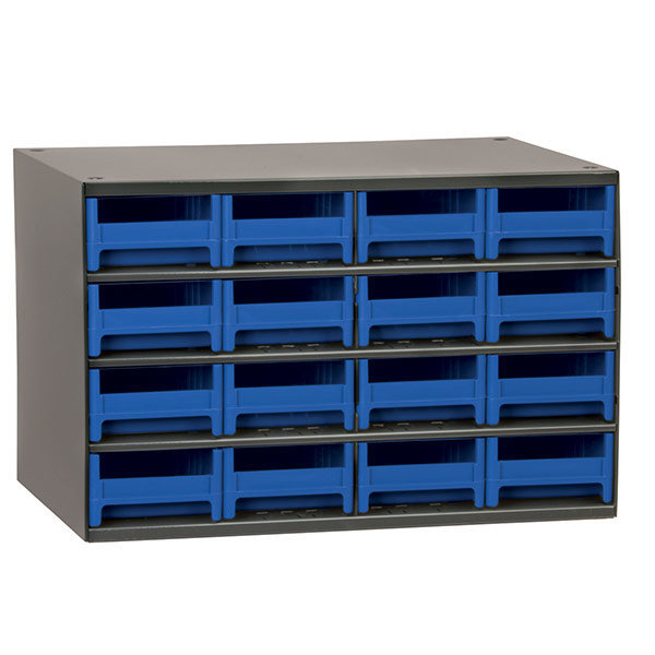 AkroMils 16 Drawer Steel Storage Cabinet with Blue Drawers