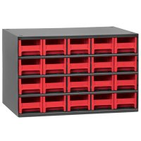 Akro-Mils 20 Drawer Steel Storage Cabinet with Red Drawers