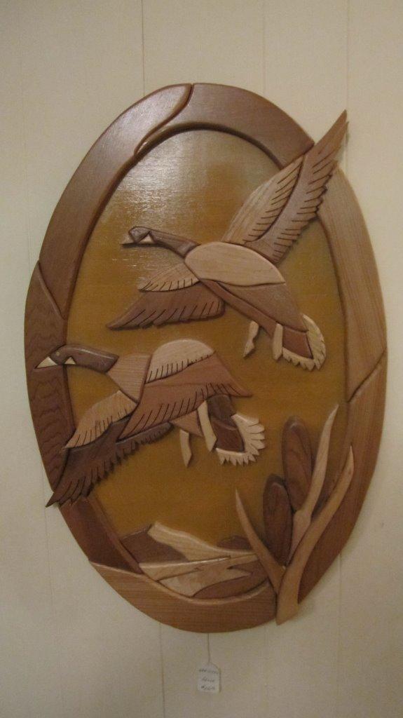 222INT - Geese In Flight Intarsia Wall Art.