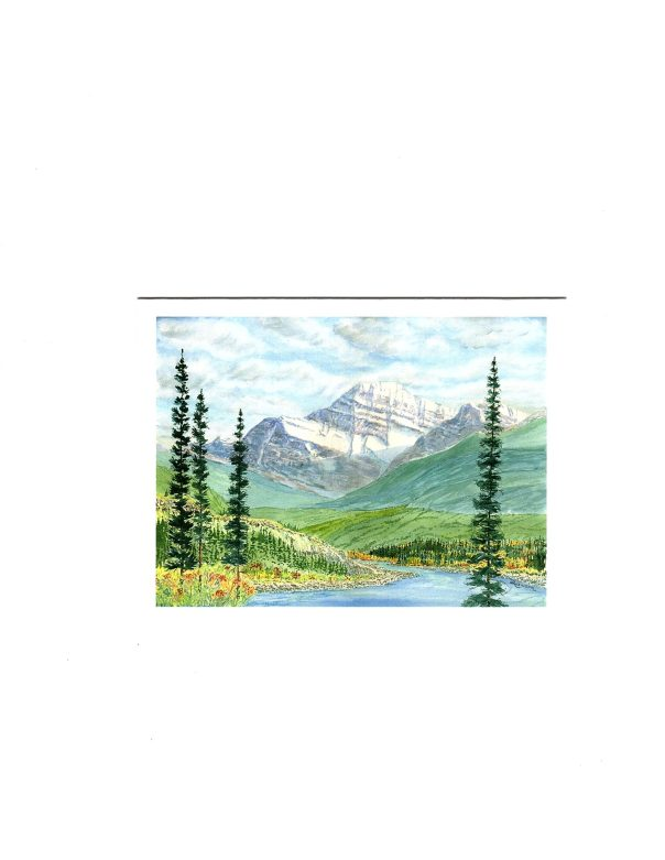 MOUNT EDITH CAVELL WATERCOLOUR PRINT