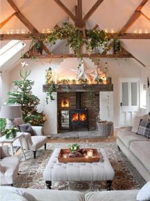 Christmas Cottage Decorated Living Room